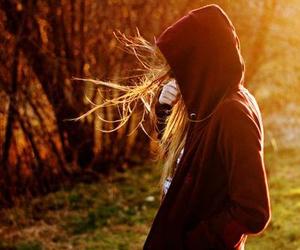 girl, hair, and sun set image