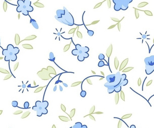 blue, floral, and wallpaper image