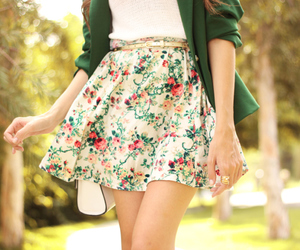 floral, spring fashion, and skirt image