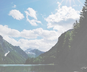 nature, sun, and mountains image
