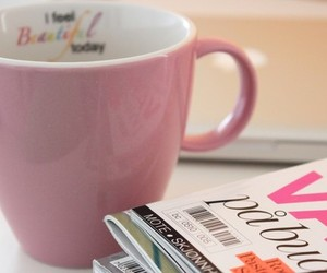 pink, magazine, and cup image