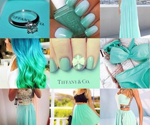 dress, nails, and teal image