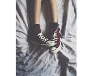 converse, bed, and red image
