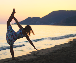 beach, gymnast, and gymnastics image