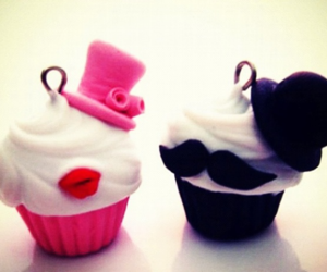 cupcake, mustache, and sweet image