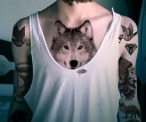 tattoo, wolf, and boy image