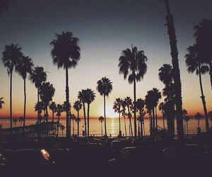 beach, sunset, and california image
