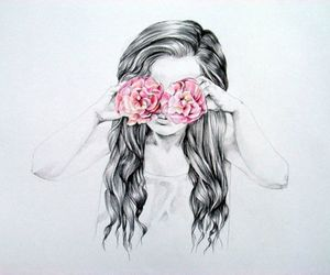 baby, drawing, and flower image