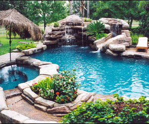 pool, water, and flowers image