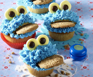 muffin, blue, and food image