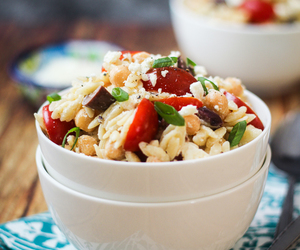 mediterranean, salad, and orzo image