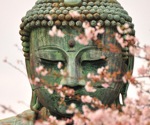 Buddha, flowers, and statue image