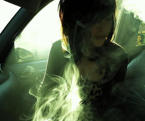 girl, smoke, and piercing image