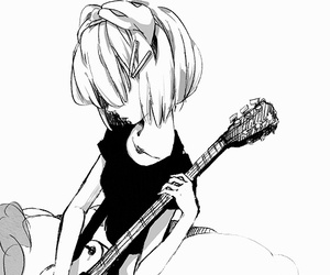 anime, black and white, and guitar image