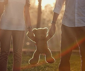 love, couple, and bear image