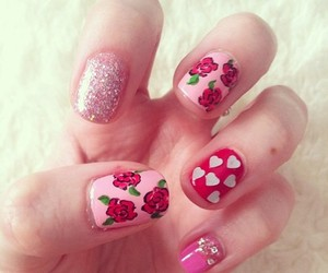 nails, flowers, and hearts image