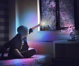 boy, stars, and galaxy image