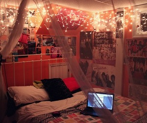 bedroom, fairy lights, and pink image