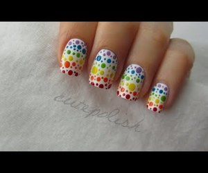 rainbow, girl, and nail art image