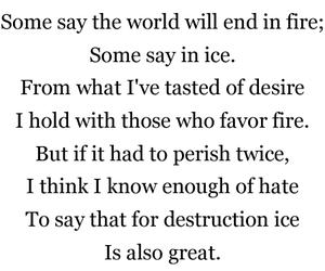 fire and ice, poem, and robert frost image