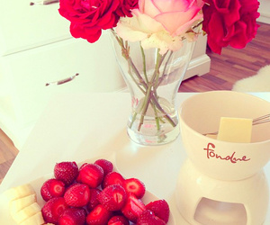 flowers, strawberry, and food image