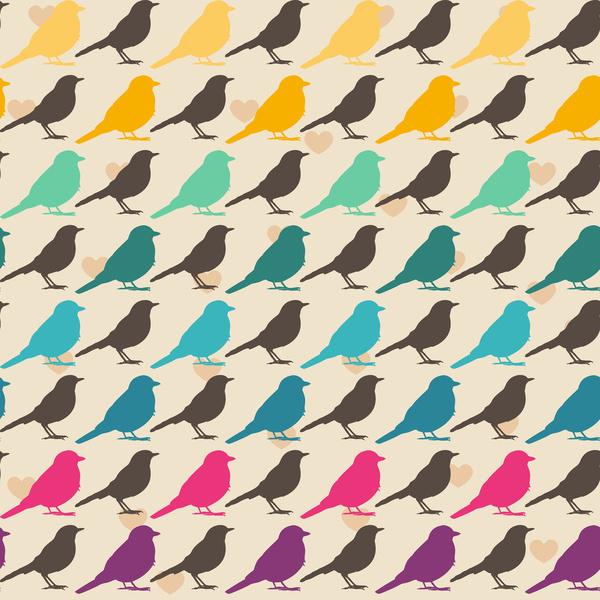 colorful birds pattern art print by mrs opossum society6