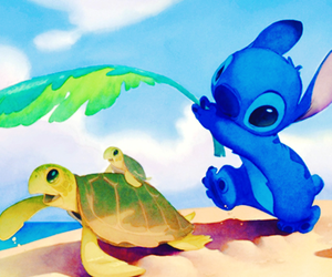 stitch, disney, and turtle image