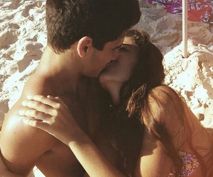 beach, couple, and true love image