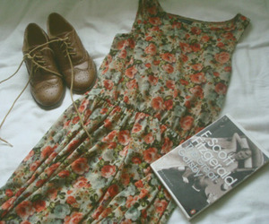 dress, shoes, and book image