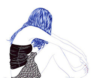 drawing, girl, and blue hair image