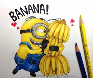 minions, banana, and drawing image