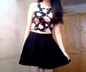 floral, skirt, and crop top image