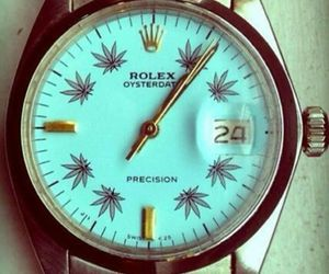 rolex, weed, and watch image