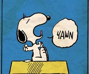 snoopy, peanuts, and yawn image