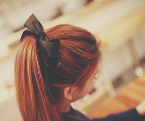 bow, red hair, and hair image