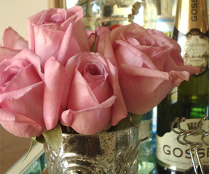 pink, roses, and champagne image