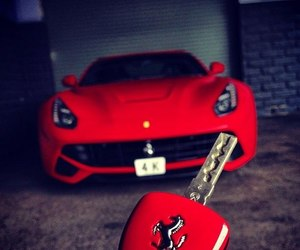 car, red, and ferrari image