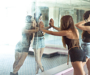 girl, mirror, and friends image
