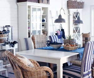 blue, cottage, and dining image