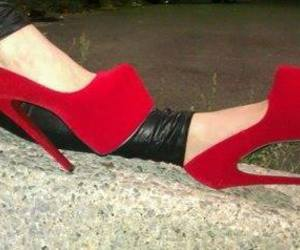 red, shoes, and girl image