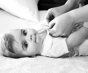 baby, black and white, and boy image