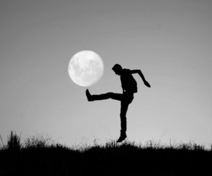black and white, boho, and moon image