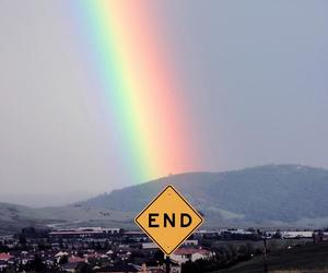 rainbow, end, and sky image