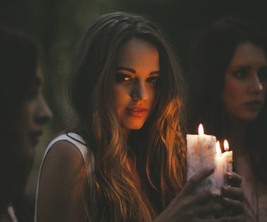 girl, candle, and light image