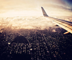 city, airplane, and plane image