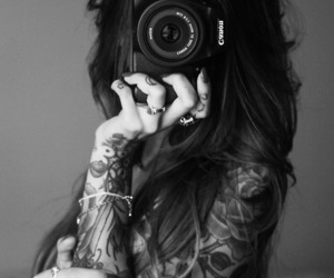 cameras, girl, and tatto image