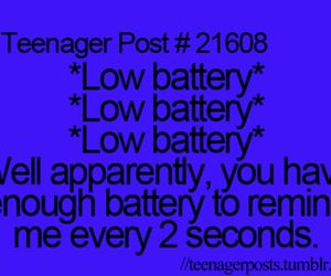 teenager, teenager post, and low battery image