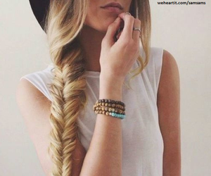 hat, blonde, and braid image