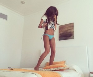 bed, fit, and beer image