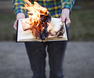 book, fire, and boy image